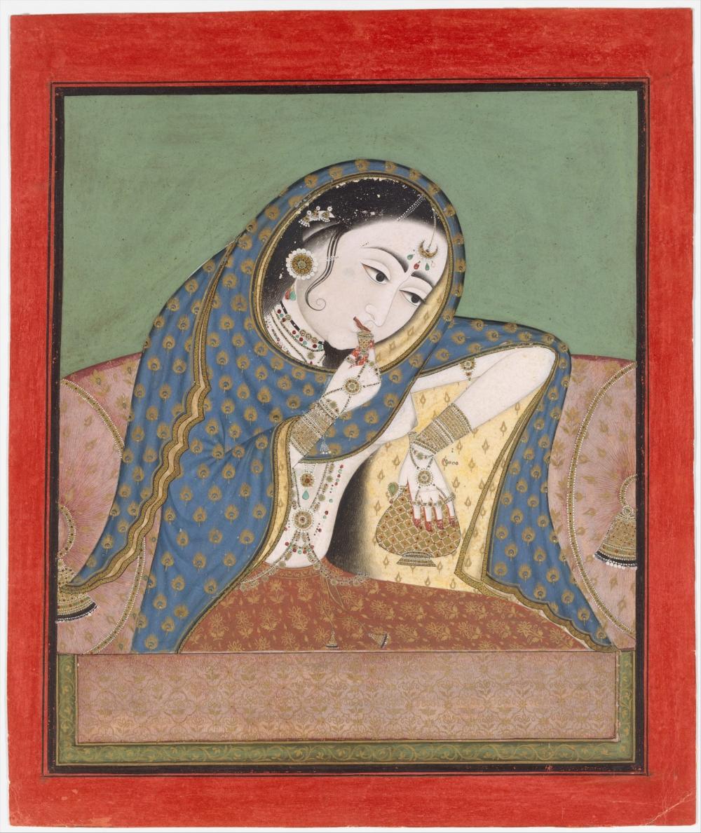 Melancholy Courtesan_ca 1750_India Rajasthan Kota Bundi_MET