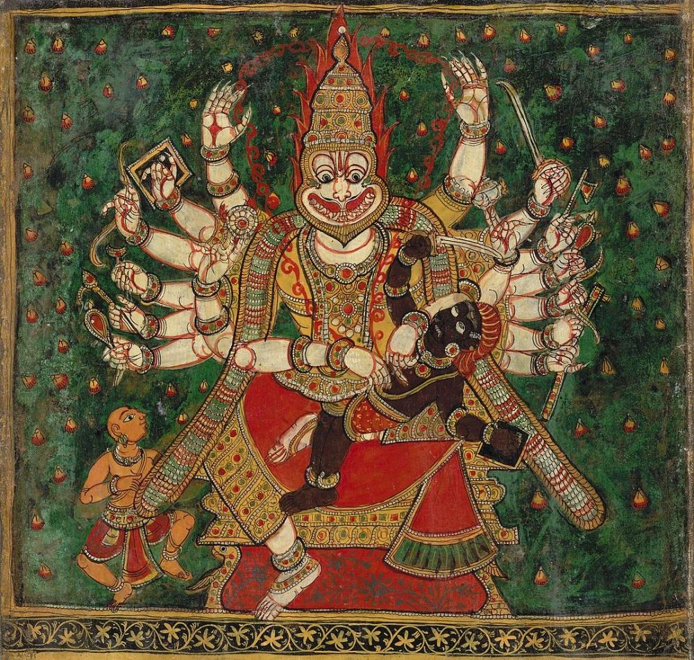 Holi, holika dahan, narasimha killing hiranyakashipu, narasimha avatar painting, british library indian collection