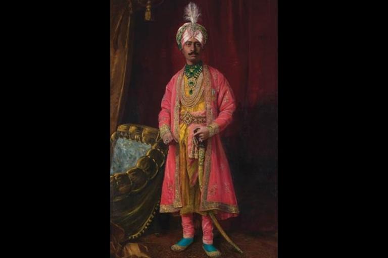 Painting of Nawab Ahmad Ali Khan of Malerkotla by an anonymous artist, based on a photograph (Courtesy: DAG via Sahapedia.org)