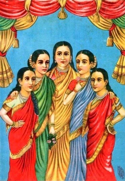 Panchakanyas, Ahalya, Draupadi, Kunti, Tara, Mandodari, raja ravi verma, Courtesy: Wikimedia Commons