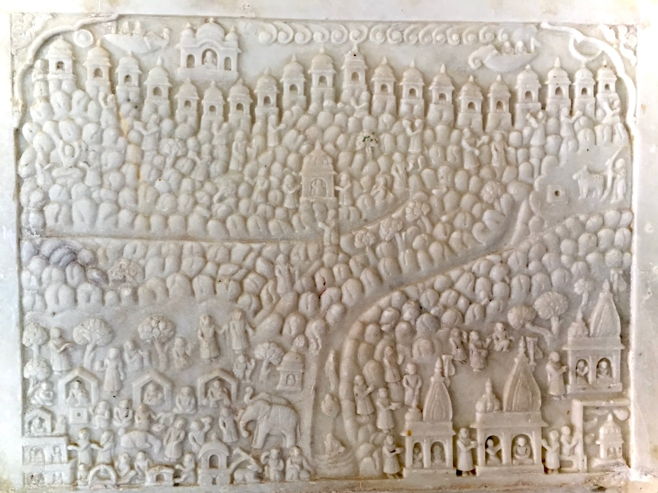 Fig. 17: Panel with Girnar-Sikhara pilgrimage, Adinathji Temple, Kathgola, Mahimapur, Murshidabad (Photo courtesy: Mrinalini Sil)