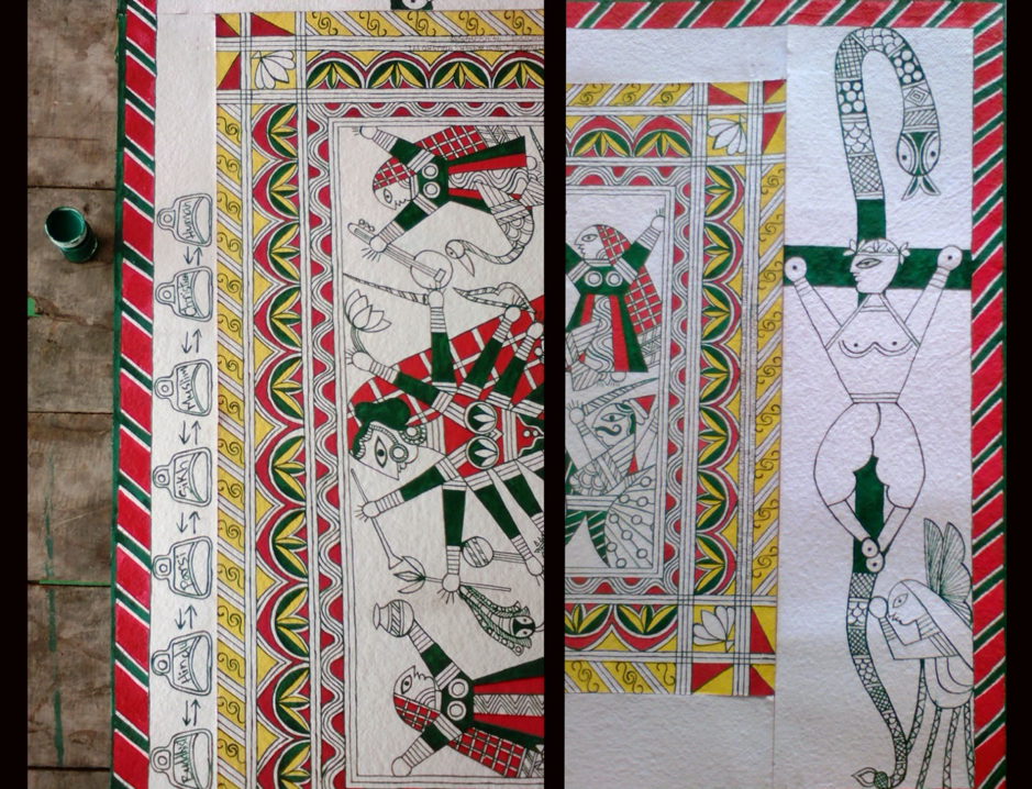 Fig. 1: Process of making a Manjusha painting: first outline and borders and drawn (with or without the help of drawing instruments) and then colours are filled in. (Courtesy: Soma Roy)