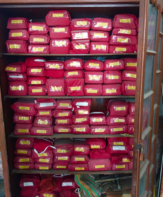 Fig 2: The cupboard of Shri Neminathji Bhandar temple library, Azimganj, where the manuscripts and sacred texts are stored (Courtesy: Mrinalini Sil)