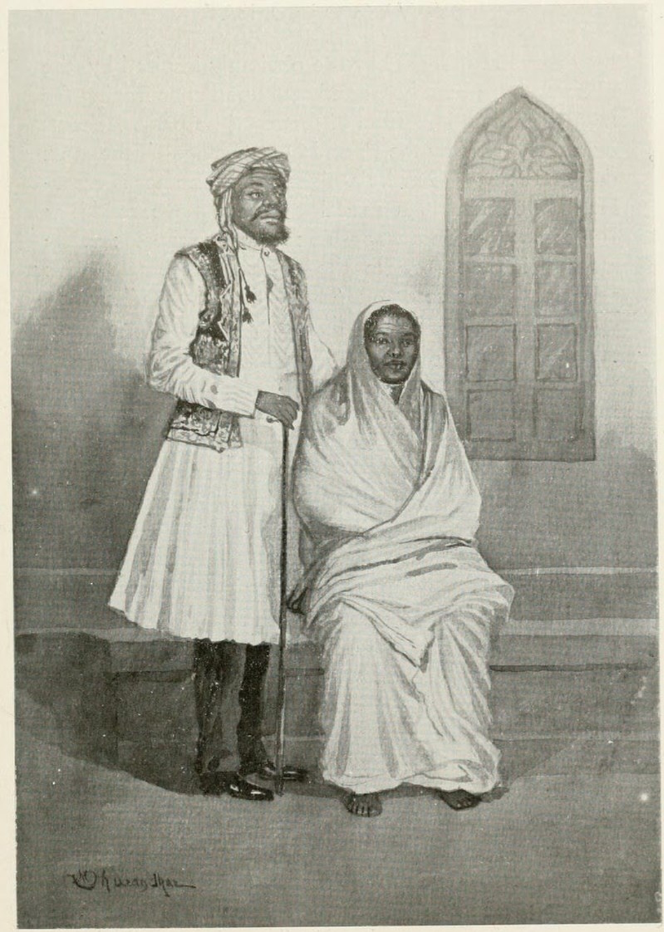 Fig. 2: During the late nineteenth and early twentieth centuries, depicting different 'types' of people was an increasingly popular theme in drawings and photography. The above image tries to represent a typical Siddi family by displaying them in their most identifiable attire and accessories (Courtesy: M.V. Dhurandhar; public domain)