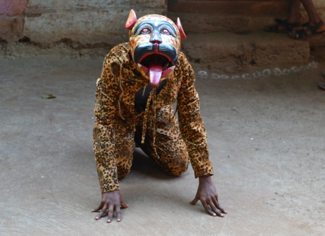 Figure 2: Dressed as a beast for a khele performance at a wedding (Courtesy: Sonam Ambe).