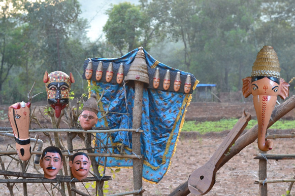 Fig. 3: Some masks and props used by the khele troupe at Dhamapur village (Courtesy: Sonam Ambe).