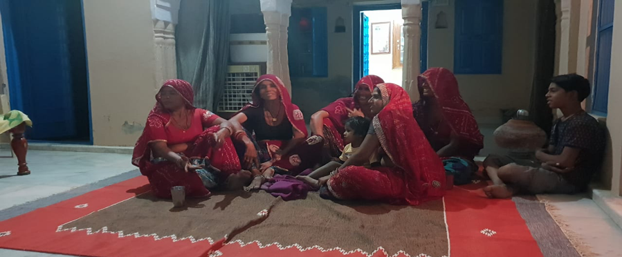 Fig. 3: Meghwal women at a recording session in Ratangarh, Rajasthan (Courtesy: Vishes Kothari)