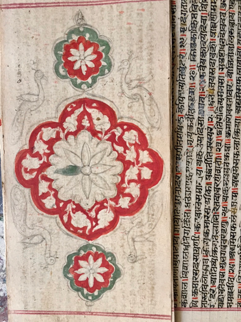 Fig 5: (Left) Incomplete decorated flyleaf of a handwritten manuscript. (Right) A typical Jain symbolic decoration on the flyleaf of a nineteenth-century handwritten manuscript. Shri Neminathji Bhandar Temple, Azimganj (Courtesy: Mrinalini Sil)