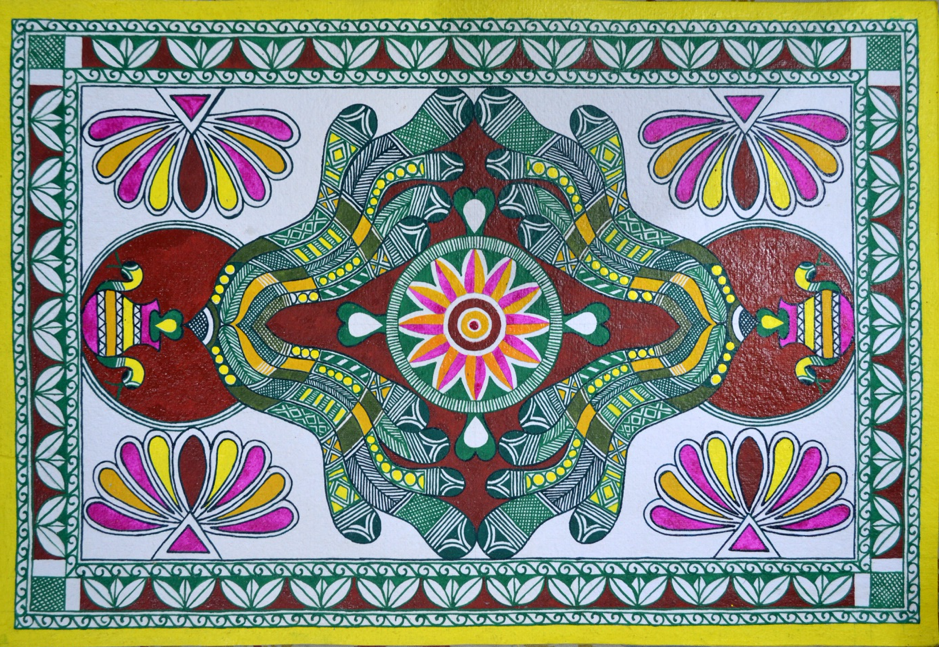 Fig. 6: Various elements of nature, including plants, leaves and animals, appear prominently as motifs in Manjusha art (Courtesy: Soma Roy)