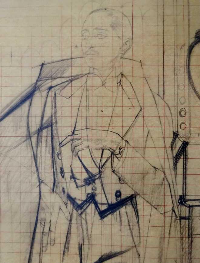 Preparatory sketch of the portrait by de Monvel - Paris, ca 1930, The Tribune