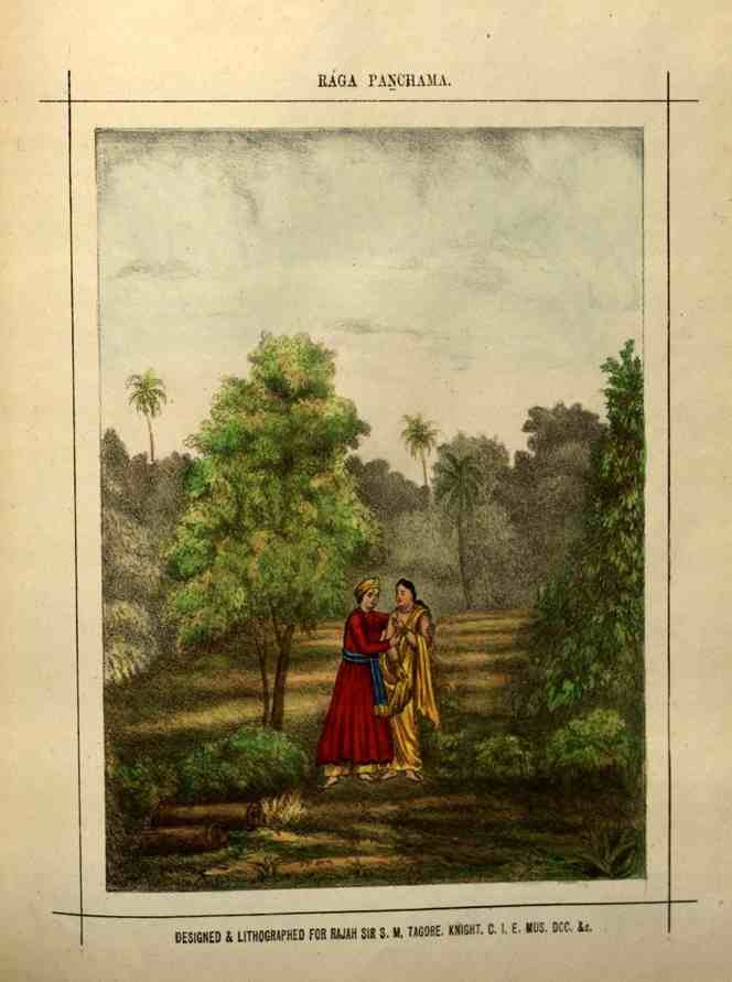 Raga Panchama represents the summer/autumn seasons and is associated with the raginis Vibhasha, Bhupali, Karnati, Barahansika, Malavi and Pathamanjari.
