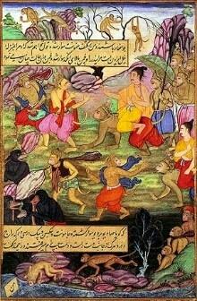 Rama meets Sugriva from Mughal Ramayana_WC