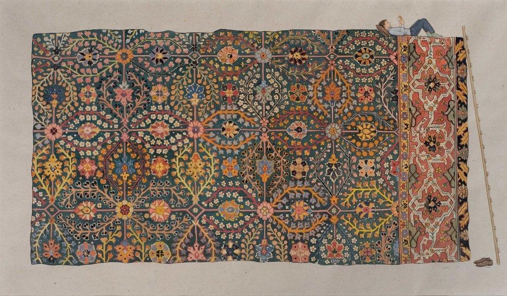 Reading on the Carpet of Paradise - Natural pigment on hemp paper_JethroBuck dot com