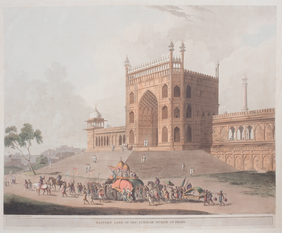 Eastern Gate of the Jummah Musjid at Delhi Drawn and engraved by Thomas Daniell, March 1795