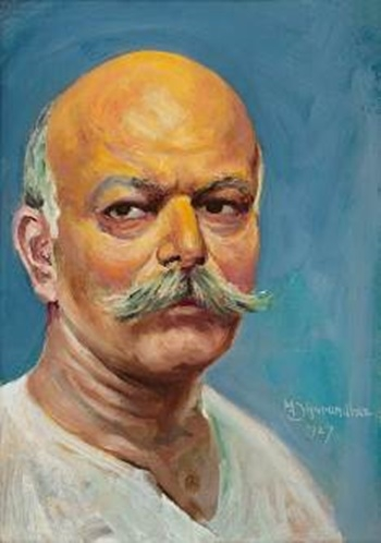 Self Portrait by M.V. Dhurandhar (Courtesy: DAG via Sahapedia.org)