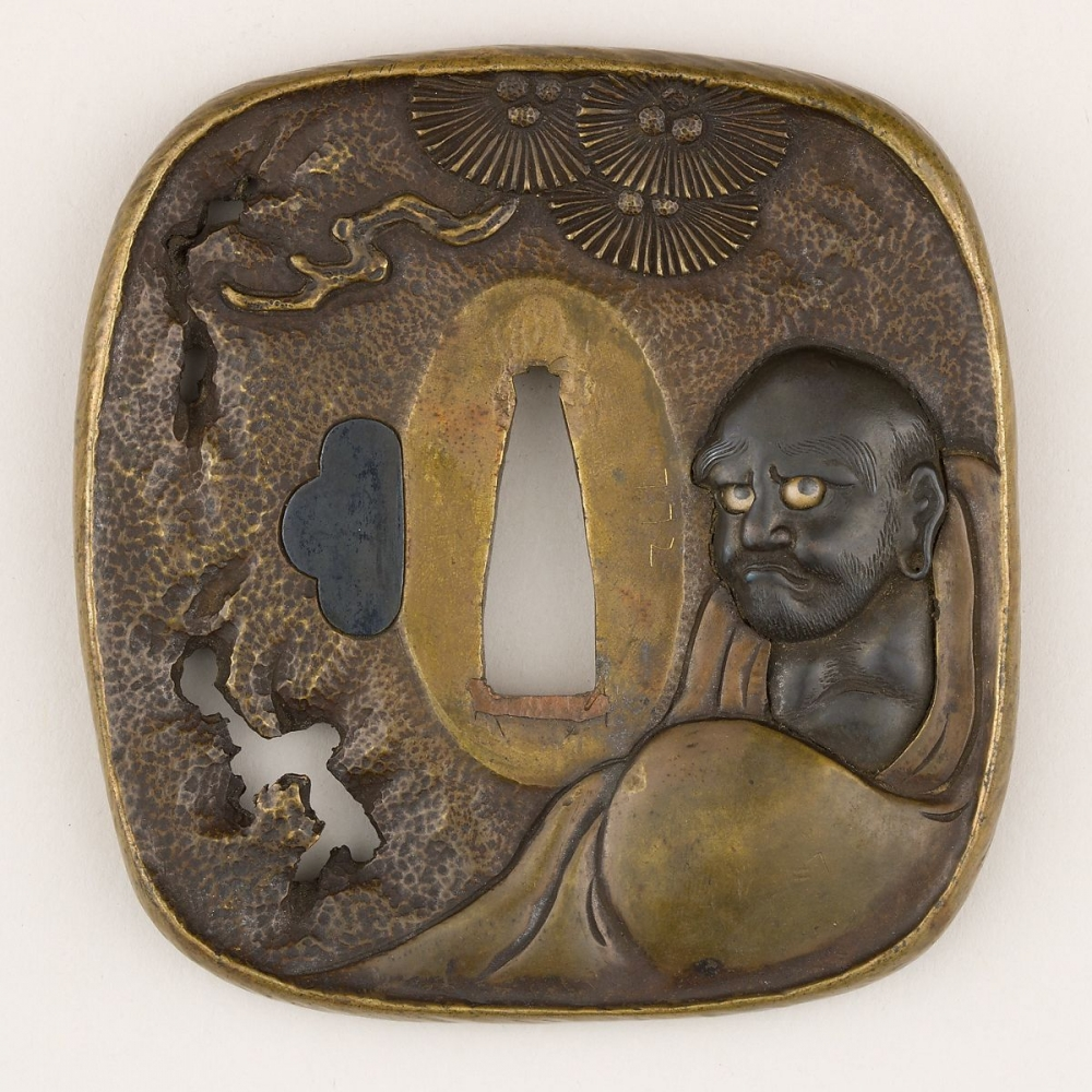 Sword guard (Tsuba) Depicting Bodhidharma Facing a Wall