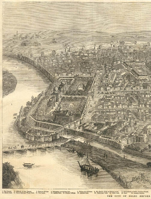 Delhi in 1858, view of Shahjahanabad and Jamuna- From the Illustrated London News, January 1858, Courtesy: Flickr