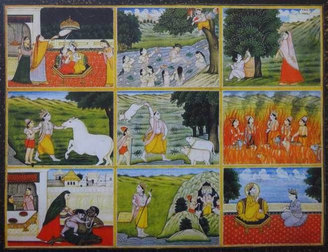 The nine rasas in Krishna's leela. Pahari; by a painter from the Nainsukh family; ca. 1815. The Bharany Collection, Delhi