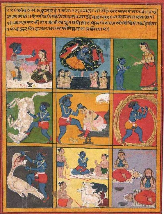 The nine rasas in Krishna's leela-Rajasthan by a painter at Mewar, ca 1700_The Tribune