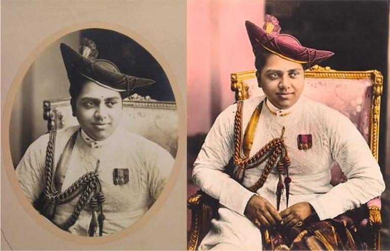 Two versions of the same photograph of Maharaja Jiwaji Rao Scindia (1916–61) of Gwalior, the latter of the two being hand-tinted (Courtesy: DAG via Sahapedia.org)