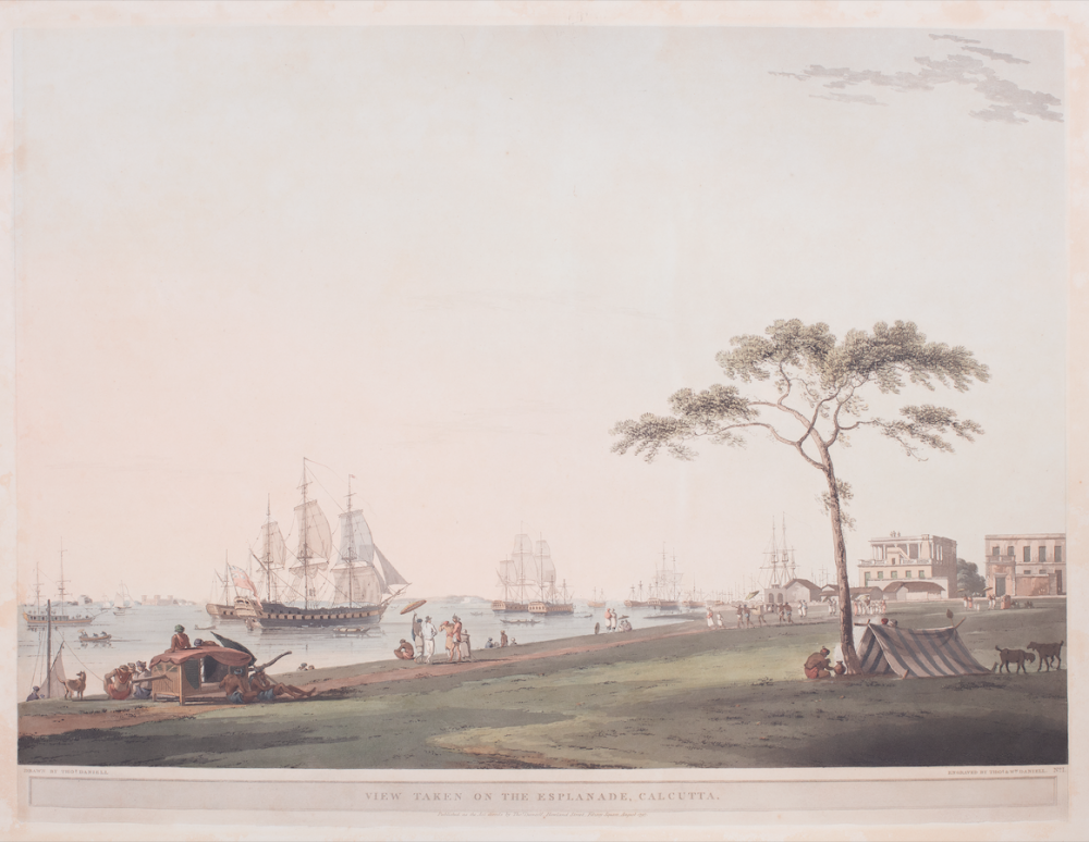 View taken on the Esplanade, Calcutta Drawn by Thomas Daniell; engraved by Thomas & William Daniell, August 1797