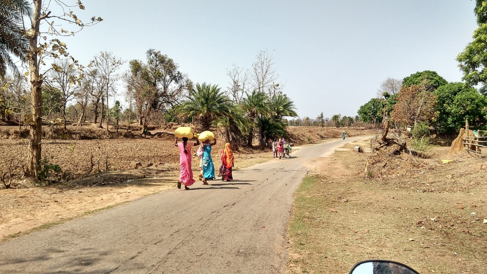 Women walking to the haat with their produces