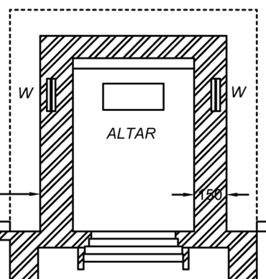 Drawing 1: Ground plan of the altar, Mar Sabor and AfrothYacobite Syrian Church, Angamaly: 2016