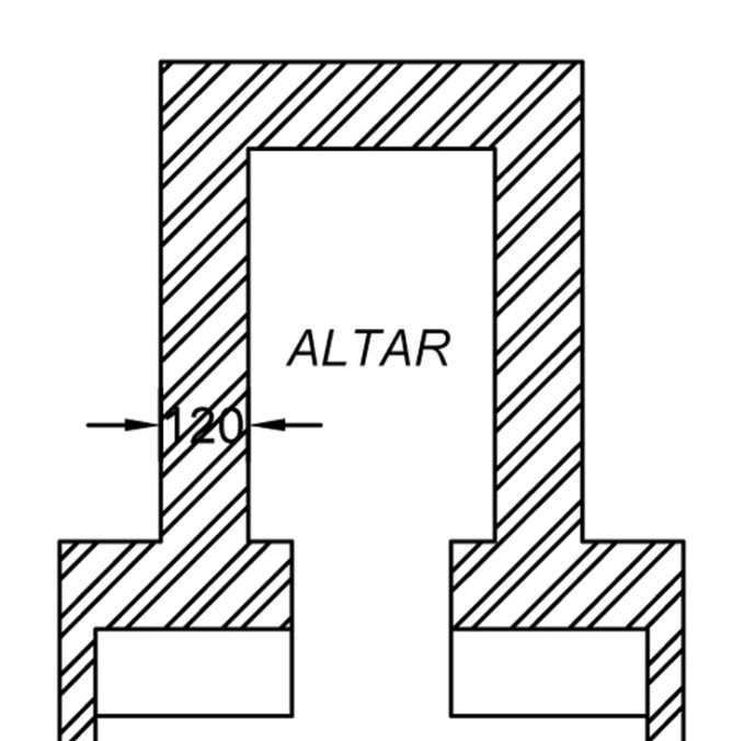Drawing 3 Ground plan of the altar, St. Mary's Church, Kanjirappally: 2016