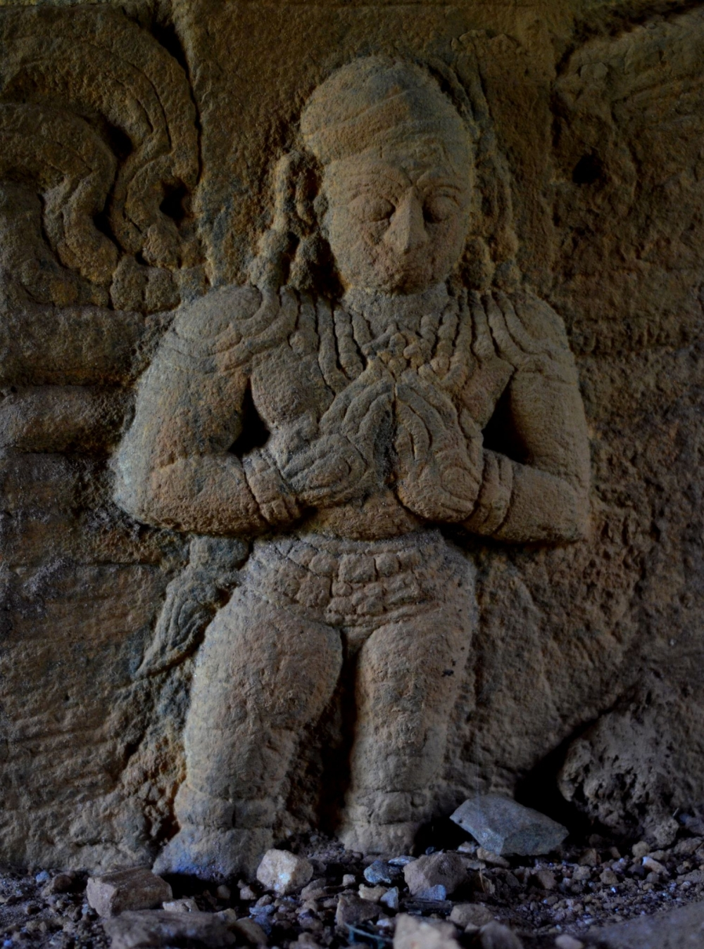 Sculpture from the Jain temple at Puthangadi. It represents a devotee in anjali mudra, considered a gesture of salutation or devotion. This is common sculptural theme in temples, irrespective of creed. Photo courtesy: Rajesh Karthy