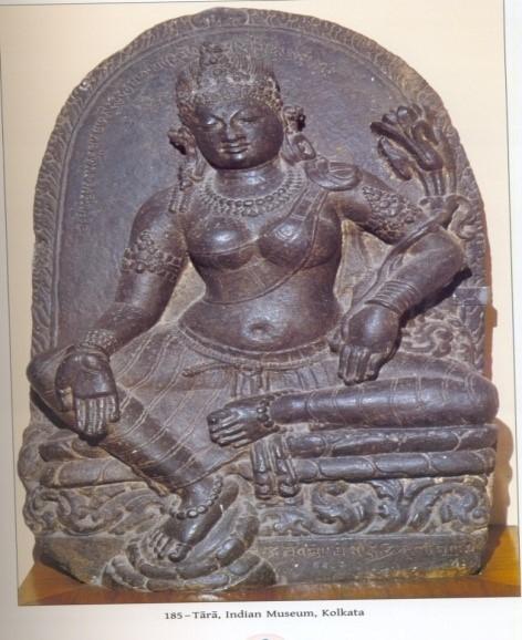 Fig. 3. Tara image from Kurkihar, Bihar, with the Buddhist formula 'Ye Dharma' inscribed on the back slab