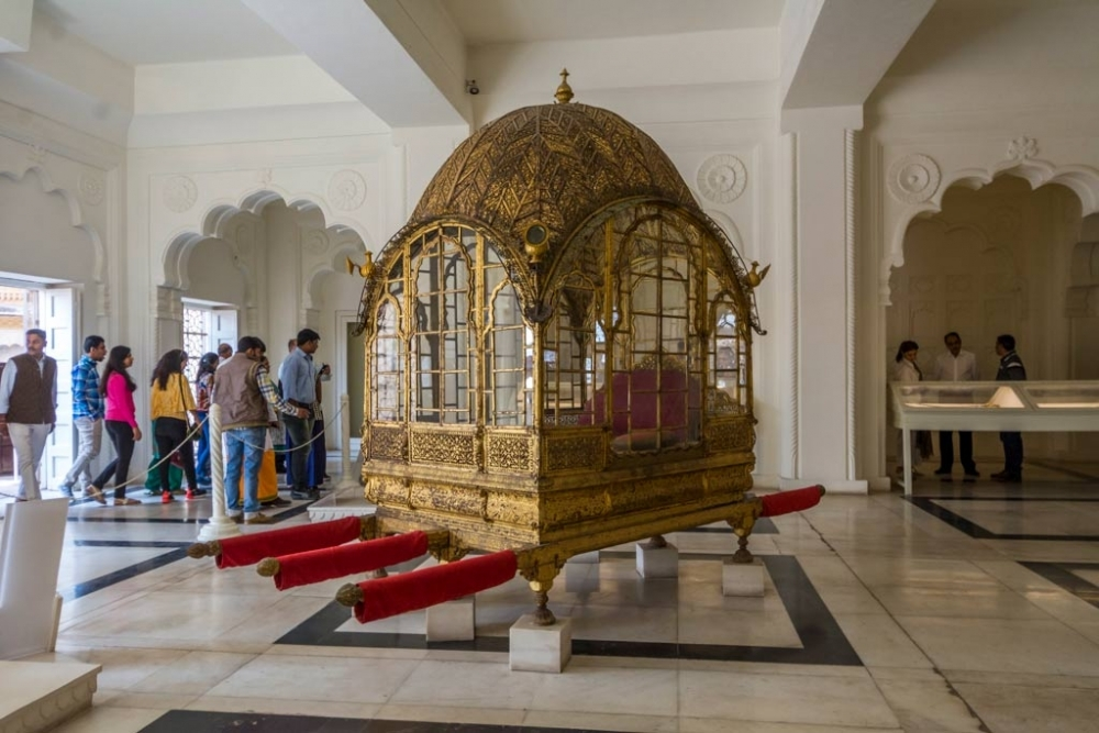 Fig. 3 The daulat khana gallery displays some of the finest objects from the museum collection, including the 'Mahadol', agrand palanquin