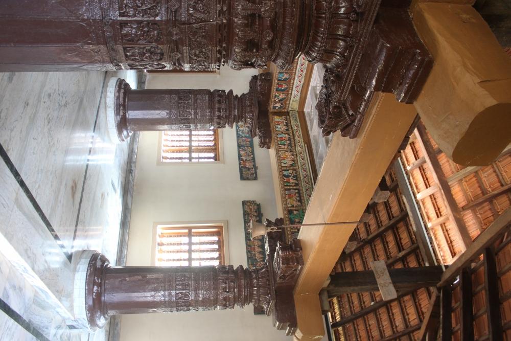 Fig. 6: Shri Kashipurusha temple, Shristal. View of the wooden sabhamandapa structure.