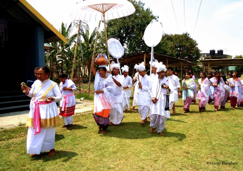 Fig. 7Aneekouba procession heading back to the shrine after the invocation at the water body. JNMDA, Imphal, 2015 (Courtesy: ©Manju Elangbam).