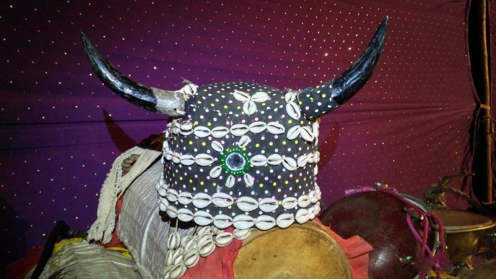 Bison-horn head gear worn during the Kolang