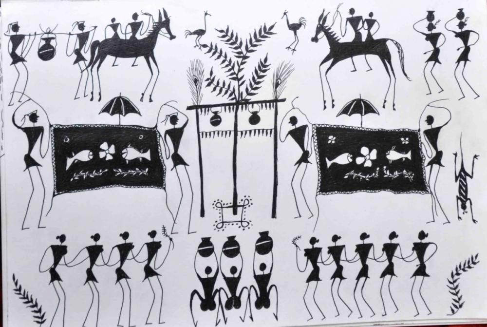 A sketch made by Meheru Muria in black ink