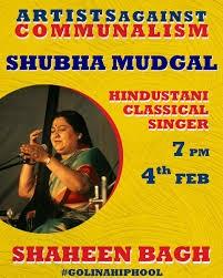 Shubha mudgal, shaheen bagh poster