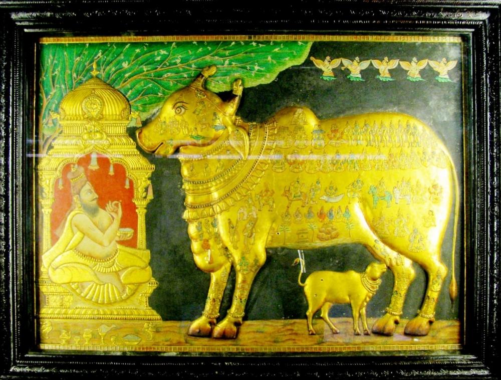 kamadhenu, Sage Vasishta's cow, kamadhenu Thanjavur painting