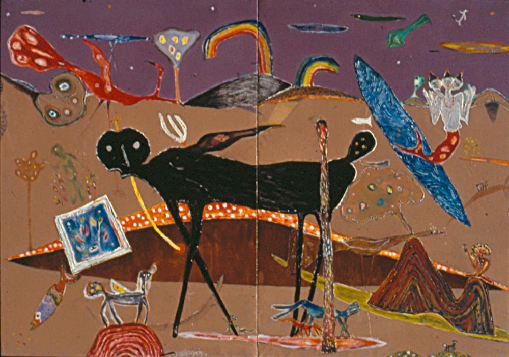 Kamadhenu, kamadhenu K. Muralidharan 1994 acrylic on canvas, kamadhenu cow