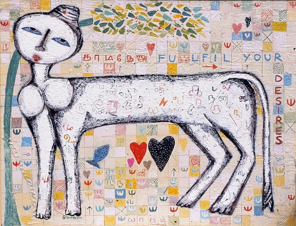 kamadhenu, white Kamadhenu by K.Muralidharan 2001 acrylic on canvas, kamadhenu cow