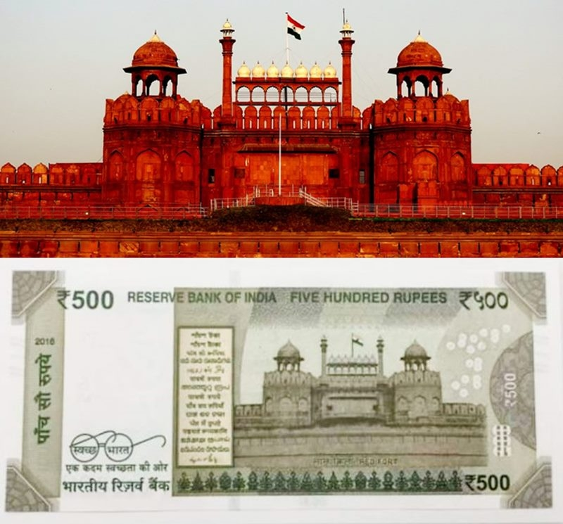 rs 500 red fort, red fort delhi