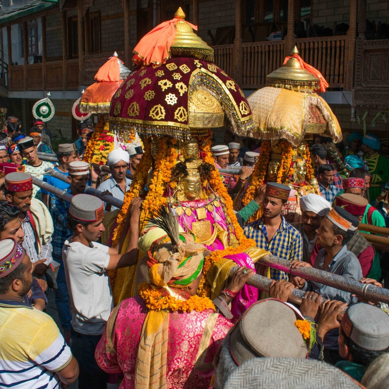An image of the devta during the procession at Kullu Dussehra