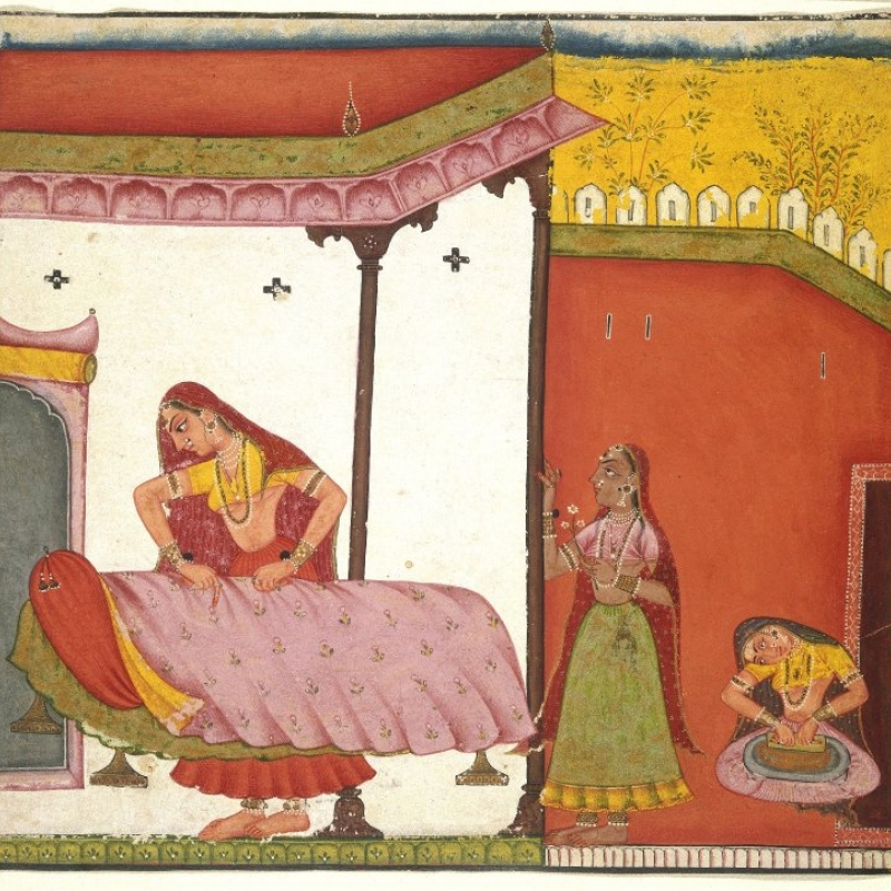 Vasaka Sajja Nayika, opaque watercolour on paper, 6.9 inches x 6.7 inches (from the online collection of the Brooklyn Museum)