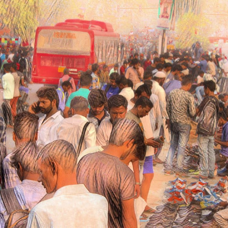 An artist's rendition of the hafta bazaars of Delhi (Courtesy: Abhishek Kumar Sharma)