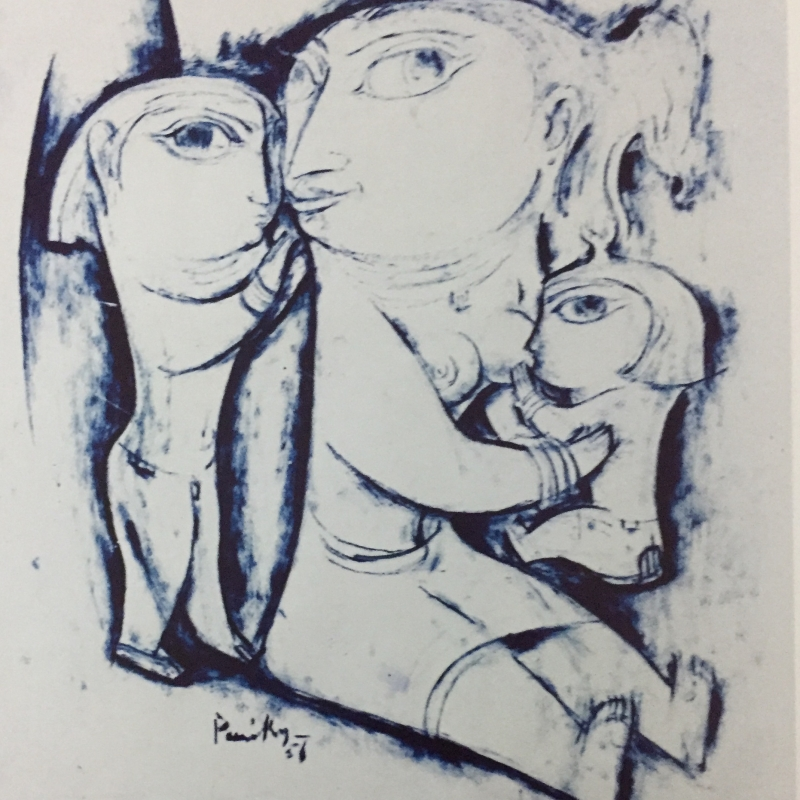 Mother and Children; brush drawing on paper; 26 in x 24 in, Artist: K.C.S. Paniker