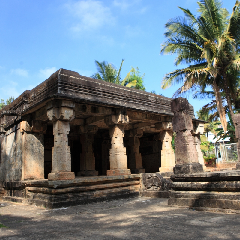 Jain temple complex at Sultan Bathery in Wayanad district. This is a mandapa-line type temple and is considered to have been built in the thirteenth century. The temple is currently protected by the Archaeological Survey of India (Courtesy: A. Mohammed)