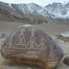 Carvings of stupas with votive inscriptions made by soldiers of the armies of King Od Lde in the 11th Century during his invasions of the Western territories of Ladakh, Baltistan  and Gilgit. The stone carving is located in Alchi (Courtesy: Tashi Ldawa)