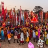 Doli , anga and lath - aniconic representations of deities in Bastar, gather to celebrate the Phag Madai at Dantewada