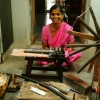Rural women of Ponduru in Andhra Pradesh spin fine Patnulu khadi on a single spindle charkha (Courtesy: Samyuktha Gorrepati)
