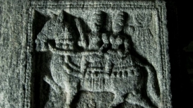A sculpture from the Chandraprabha basadi at Jainamedu in Palakkad district. The sculpture depicted on the pillar represents a male and a female figure riding on a horse (Courtesy: Rajesh Karthy)