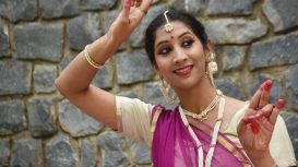 This pose is used to denote a woman, and especially performed in 'Abhinaya' compositions and 'Gat'.